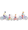 parents with kids riding bicycles vector image vector image