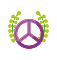 peace symbol with wreath vector image vector image