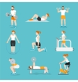 People gym exercises icons set vector image vector image