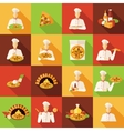 Pizza Makers Flat Icons Set vector image vector image
