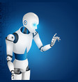 plastic humanoid robot finger touch digital screen vector image