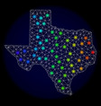 polygonal network mesh map of texas with colorful vector image