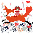 red hood girl on the fox in the spring garden vector image