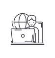 remote work line icon concept remote work vector image vector image
