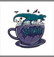 roar cup coffee vector image vector image