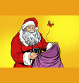 sad santa and empty christmas bag with a moth vector image vector image
