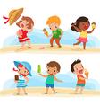 set children with ice cream vector image