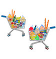 set isolated shopping trolley full food vector image vector image