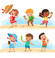 set of children with ice cream vector image vector image