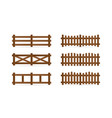 set of different rural wooden fences isolated vector image