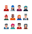 set people flat avatars male and female faces vector image