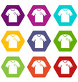 soccer shirt icon set color hexahedron vector image vector image