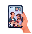 video call or family chat in phone or smartphone vector image vector image