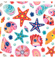 white seamless pattern with seashells vector image