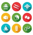 Wing Chun Icons Set vector image vector image