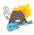 with guitar meteorite mascot cartoon style vector image