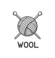 wool emblem with with ball of yarn and knitting vector image vector image