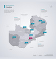 zambia map with infographic elements pointer marks vector image vector image