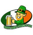 Leprechaun Hold Beer vector image