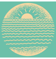 Sea sunset with sun sea waves and sand vector image