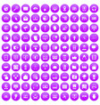 100 cyber security icons set purple vector image vector image