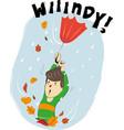 a boy with the umbrella vector image