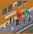 beggars at street isometric vector image