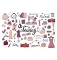 big set of hand drawn sewing elements isolated on vector image vector image