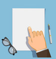 businessman points a finger at a document vector image vector image
