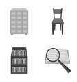 cabinet with filing cabinet chair shelves vector image