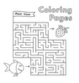 cartoon fish maze game vector image vector image