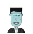 cartoon smiling frankenstein head vector image vector image