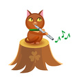 Cat with flute on tree stump vector image