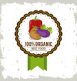 colorful logo of organic best food with peppers vector image vector image
