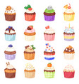cupcake muffin and sweet cake dessert with vector image