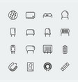 electronic components icon set in thin line style vector image