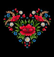 embroidery stitches with flowers vector image vector image