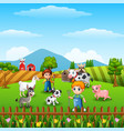 farm background with farmers and farm animals acti vector image vector image