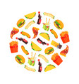 fast food seamless pattern round shape dishes vector image vector image