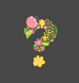 floral summer question mark flower capital vector image vector image