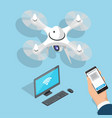 flying quadcopter computer man hand with phone vector image