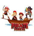 font design for word pirate party with pirate and vector image