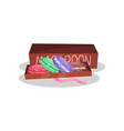 french macaroon cookies in brown gift box vector image