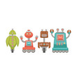 funny unusual robots on wheels isolated cartoon vector image