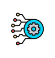 gear with circuit board artificial intelligence vector image vector image