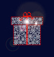 gift box made of snowflakes with red ribbon and vector image vector image