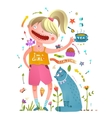 Girl and pet cat drinking tea girlish design vector image vector image