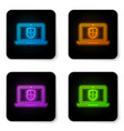 glowing neon laptop protected with shield symbol vector image