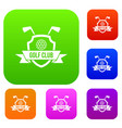 golf club emblem set color collection vector image