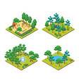 green city park concept set 3d isometric view vector image